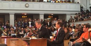 Gov. Baker testifies on behalf of his charter school expansion bill before the Committee on Education. [Photo: Antonio Caban/SHNS] 10/13/15